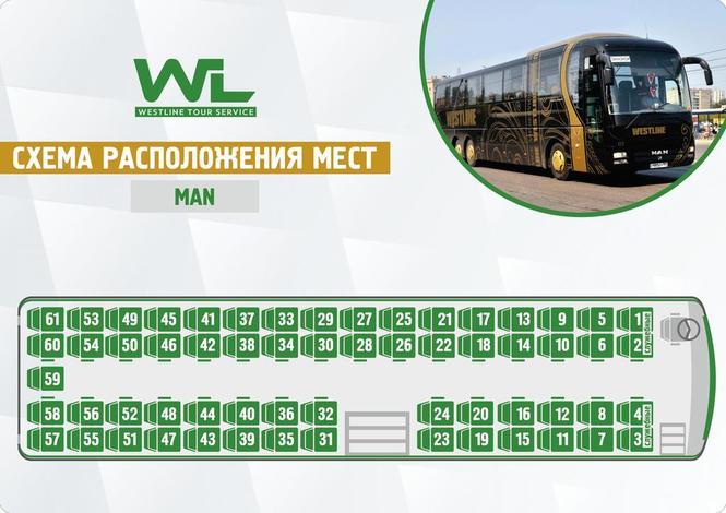 Нумерация мест в автобусах дальнего следования схема